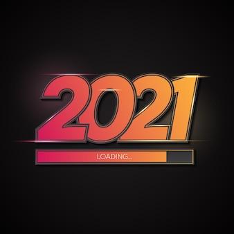 Felice anno nuovo 2021 sfondo gradazione con barra di caricamento
