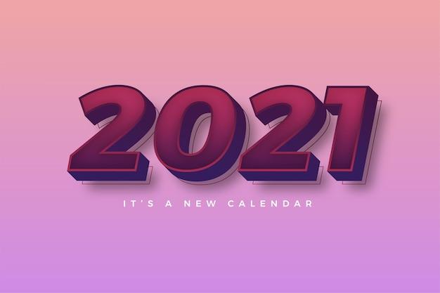 Felice anno nuovo 2021 modello rosa colorato sfumato per il calendario