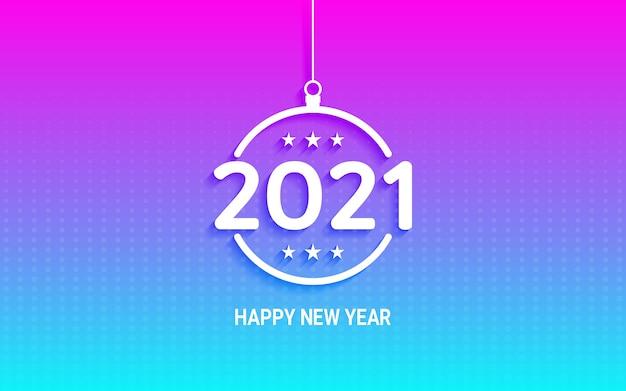 Felice anno nuovo 2021 in appendere la palla di natale sul colore della luce al neon