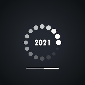 Felice anno nuovo 2021 caricamento vettore di design. felice nuovo anno 2021 con caricamento del vettore di sfondo. barra di caricamento per il concetto di capodanno e biglietto di auguri in stile digitale.
