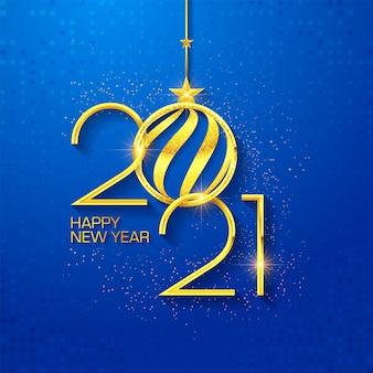 Felice anno nuovo 2021 design di testo di lusso. illustrazione di saluto con numeri d'oro