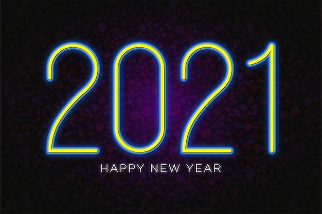 Felice anno nuovo 2021 sfondo di testo al neon