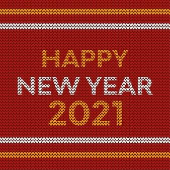 Felice anno nuovo 2021 design a maglia con topografia al neon