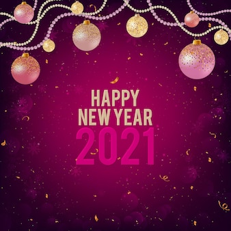 Felice anno nuovo 2021 sfondo viola con palline