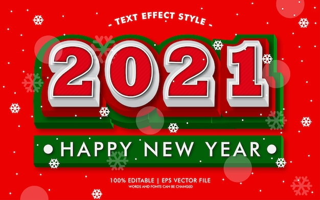 Happy new year 2021 red text effects style