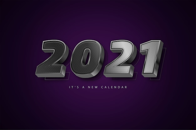 Felice anno nuovo 2021 sfondo di lusso d'argento