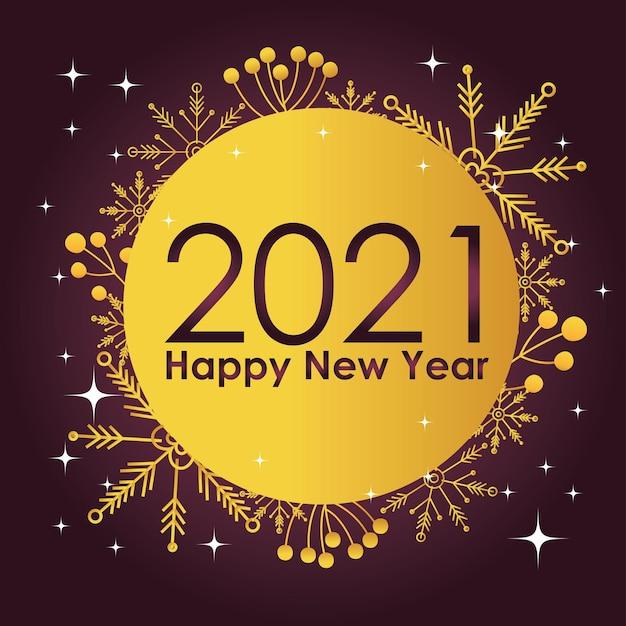 Etichetta dorata della decorazione della bacca dell'agrifoglio dei fiocchi di neve del buon anno 2021