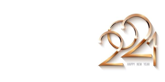 Modello di felice anno nuovo 2021, numeri brillanti d'oro alla luce con scintillii.