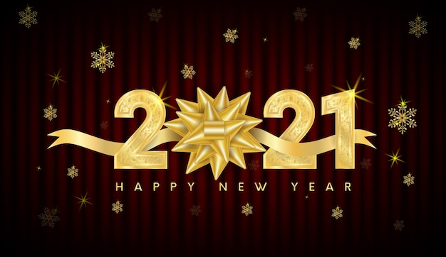 Felice anno nuovo 2021 testo design. con numeri d'oro e fiocco di neve.