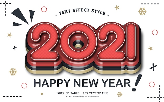 Felice anno nuovo 2021 stile effetti di testo