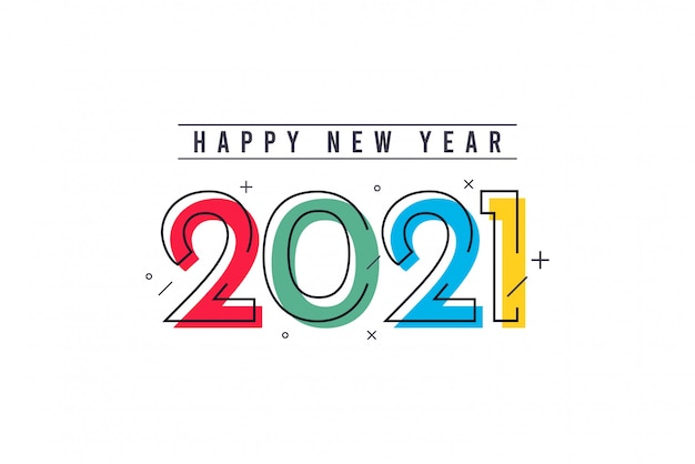 Felice anno nuovo 2021 template vettoriale.