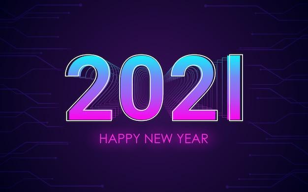 Felice anno nuovo 2021 con effetto carattere 3d sullo sfondo di colore della luce al neon