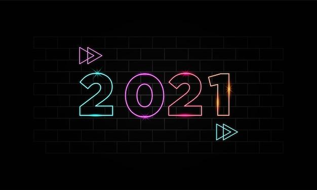 Felice anno nuovo 2021 con modello di sfondo stile palloncino oro