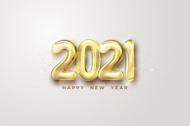 Felice anno nuovo 2021 con numeri di palloncini dorati.
