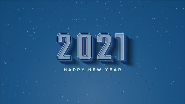Felice anno nuovo 2021, con illustrazioni di figure 3d in blu scuro.