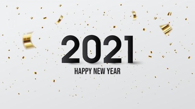 Felice anno nuovo 2021, con illustrazioni di numeri neri e pezzi di carta dorata.