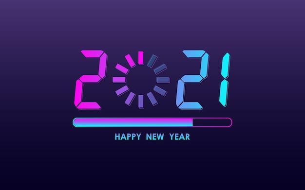 Felice anno nuovo 2021 con barra di caricamento in colore luce al neon