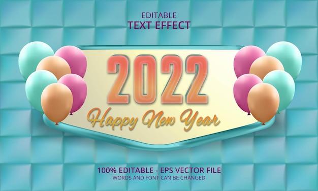 Felice anno nuovo 2022 testo 3d modificabile con palloncini e sfondo blu quadrato 3d
