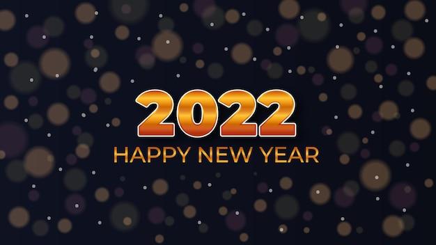 Felice anno nuovo 2022 astratto design dorato moderno con sfondo bokeh