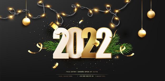Fondo del buon anno 2022 con la luce e la decorazione di natale. illustrazione di saluto di festa di vettore scuro.