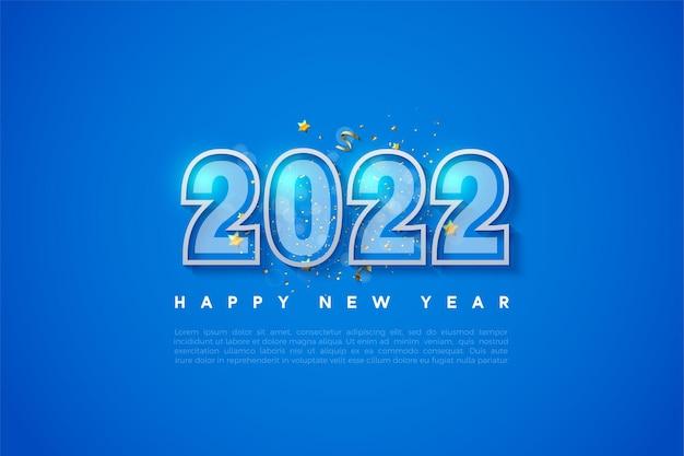 Felice anno nuovo sfondo 2022 con bordo doppio numero
