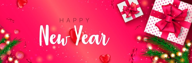 Felice anno nuovo 2022 banner concetto di natale su sfondo rosa poster per le vacanze di natale
