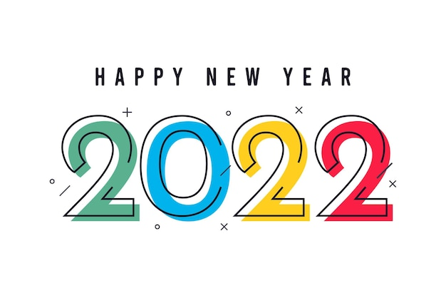 Modello di banner di felice anno nuovo 2022