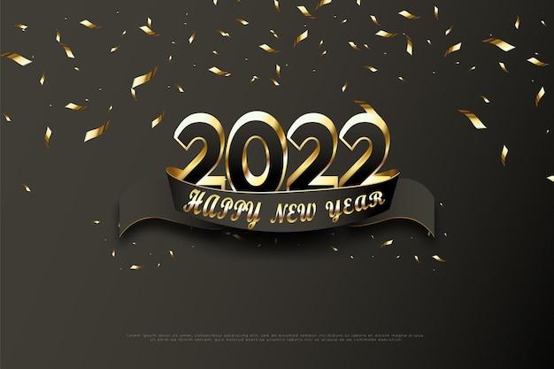 Felice anno nuovo 2022 su sfondo nero e spruzzi di nastro d'oro