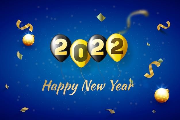 Fondo blu della carta di celebrazione del buon anno 2022