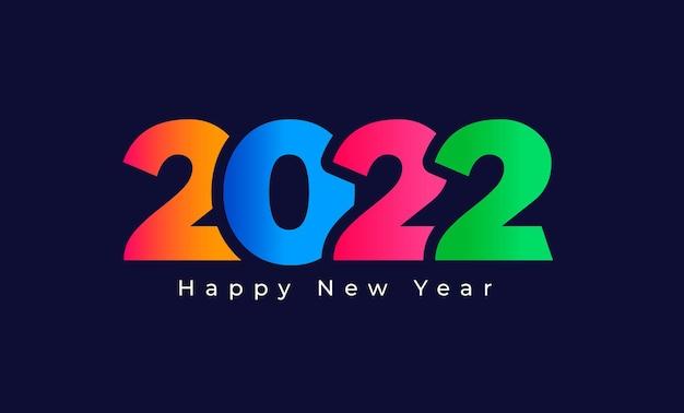 Felice anno nuovo 2022 sfondo colorato con numero di intestazione del calendario 2022