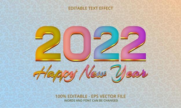Felice anno nuovo 2022 gradiente colorato 3d effetto testo modificabile su sfondo pastello pietra modello