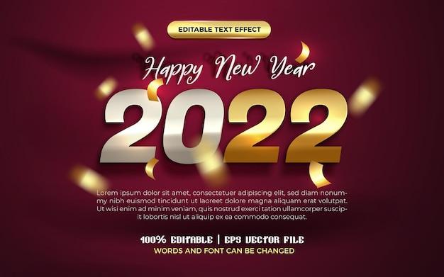 Felice anno nuovo 2022 elegante modello di banner palloncino piatto d'oro con effetto testo modificabile