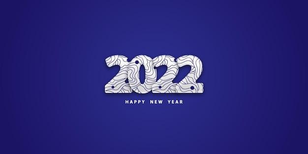 Felice anno nuovo 2022 sfondo blu festivo con numeri bianchi 3d