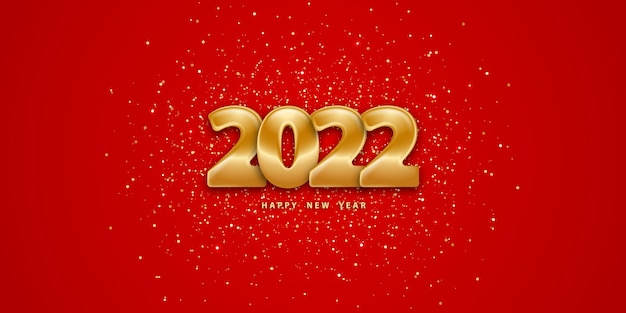 Felice anno nuovo 2022 sfondo rosso festivo con numeri dorati 3d e glitter