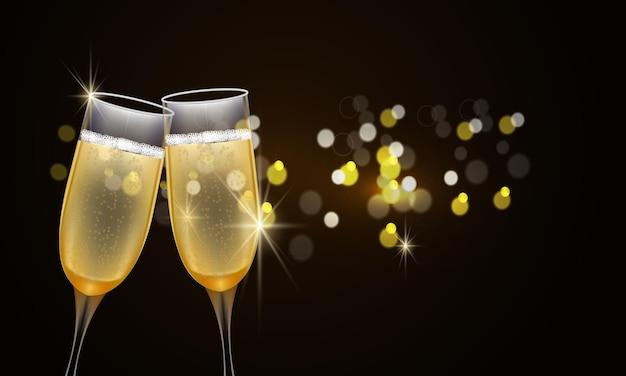 Felice anno nuovo 2022. bicchieri di champagne e scritte eleganti dorate. vettore