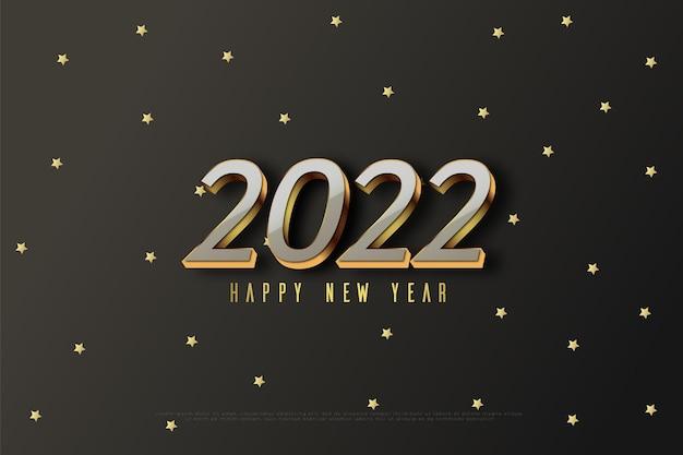 Felice anno nuovo 2022 su sfondo stella d'oro