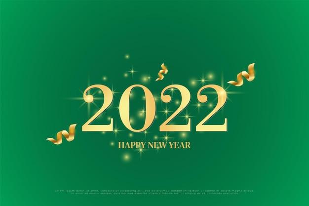 Felice anno nuovo 2022 su sfondo verde con nastro d'oro