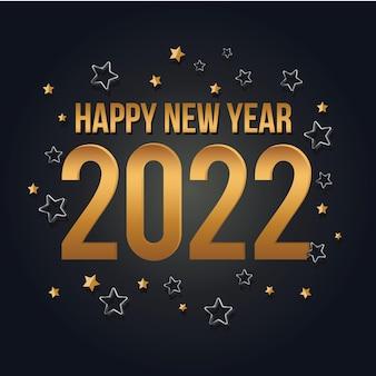 Biglietto di auguri di felice anno nuovo 2022 design celebrativo in oro e nero modello di festa di lusso dorato