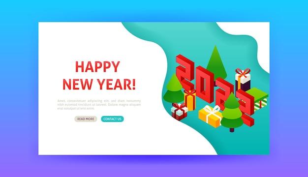 Pagina di destinazione di felice anno nuovo 2022. illustrazione vettoriale di isometria di vacanza invernale.