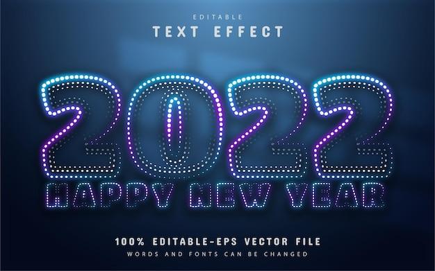 Felice anno nuovo 2022 effetto testo in stile punti al neon
