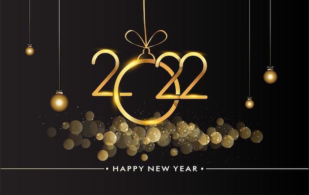 Felice anno nuovo 2022 - sfondo splendente di capodanno con nastro dorato e glitter, design elegante.