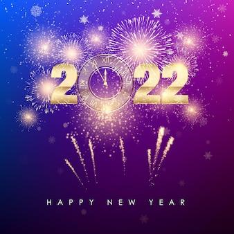 Felice anno nuovo 2022 banner di capodanno con fuochi d'artificio di numeri dorati e sfondo colorato