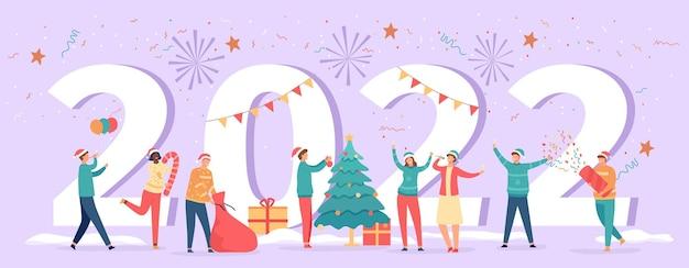 Felice anno nuovo 2022. poster con numeri e festaioli che celebrano la vigilia, l'albero, i regali e le bevande. bandiera di vettore di risoluzione di vacanza invernale con fuochi d'artificio. uomo e donna che si divertono con i coriandoli