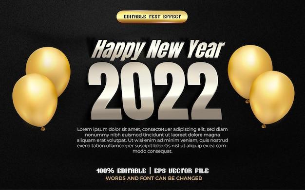 Felice anno nuovo 2022 argento plat 3d effetto testo modificabile con palloncino dorato