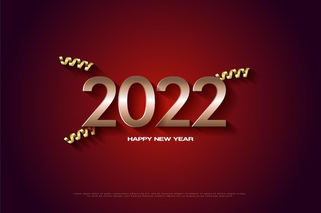 Felice anno nuovo 2022 su sfondo rosso solido con nastro d'oro