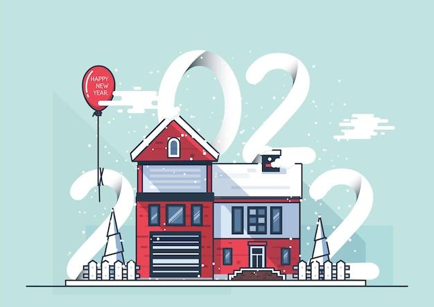 Felice anno nuovo 2022 neve coperta di casa suburbana