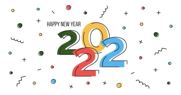 Felice anno nuovo 2022. banner web in design piatto astratto con numeri. poster orizzontale geometrico di memphis per la celebrazione della vigilia di natale con coriandoli. illustrazione vettoriale.