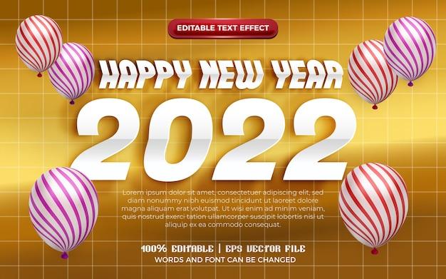 Felice anno nuovo 2022 carta origami bianca tagliata effetto testo modificabile 3d con palloncino modello su sfondo oro