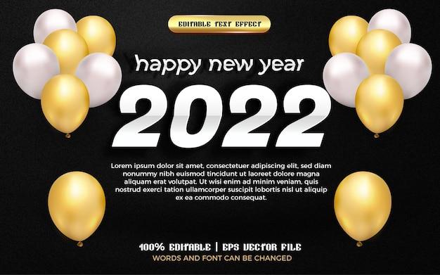 Felice anno nuovo 2022 carta bianca tagliata effetto testo modificabile 3d con palloncino dorato