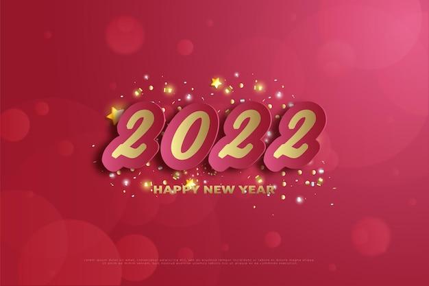 Felice anno nuovo 2022 con brillante decorazione a stella d'oro